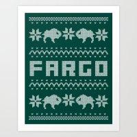 fargo Art Prints featuring Fargo Sweater by Mandrie