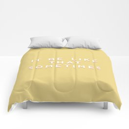 """It be like that sometimes"" Vintage Yellow Type Comforters"