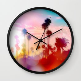 palm tree with sunset sky and light bokeh abstract background Wall Clock