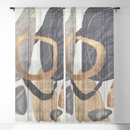 Abstract Pebbles III Sheer Curtain