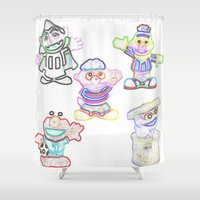 sesame street Shower Curtains featuring Sesame Street  by Beastie Toyz
