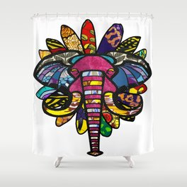 Pink Purple African Colorful Elephant Shower Curtain