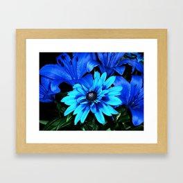 Electric Blue Flowers Framed Art Print