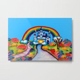 Castle Fantasy Floral Rainbow Landscape Metal Print
