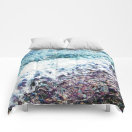 Waves lap at the shore - painting - art gift - abstract Comforters