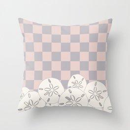 Sand Dollars on Pink & Grey Throw Pillow