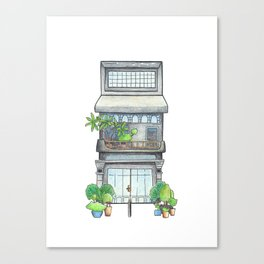 Modern urban house front view, travel sketch from Siem Reap town, Cambodia Canvas Print