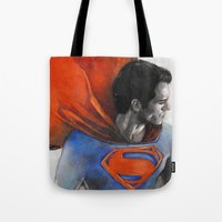 man of steel Tote Bags featuring Man of Steel by Christine Chang
