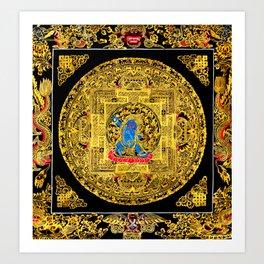 Buddhist Mahakala Mandala Golden Kalarupa Art Print