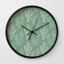 Green Cacti Wall Clock