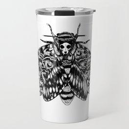 Death's Head Hawk Moth with Cat Skull Travel Mug