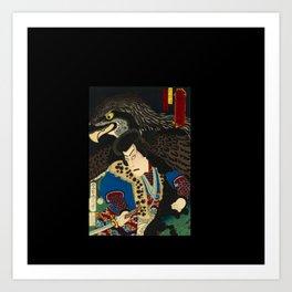 Hawks with worrior in Japan Art Print