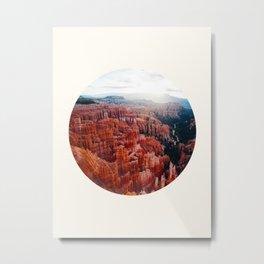 Mid Century, Modern, Round, Circle Photo, Jagged, Orange, Grand Canyon Metal Print