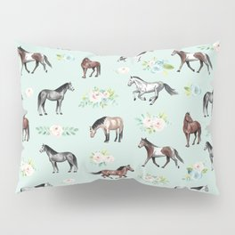 Floral Horse Pattern, Flowers and Horses, Hand Painted, Girl's Room, Romantic Blue Floral Pillow Sham