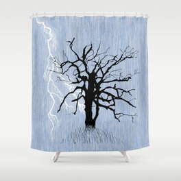 Gnarled Tree and Lightning Shower Curtain