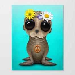 Cute Baby Sea Lion Hippie Canvas Print