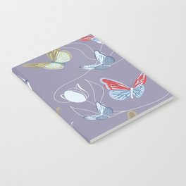 Butterflies and tulips dancing in the wind. Seamless digital pattern Notebook