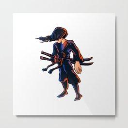 Illustration of ninja Metal Print