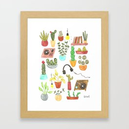watercolor vinyl records and cacti Framed Art Print