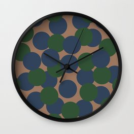 Green and Blue Dots on Salmon Wall Clock