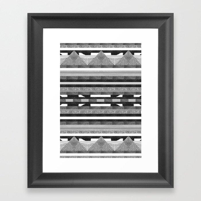 DG Aztec No.2 Monotone Framed Art Print