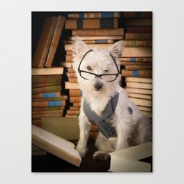 Teacher Dog Westie Among Books Canvas Print