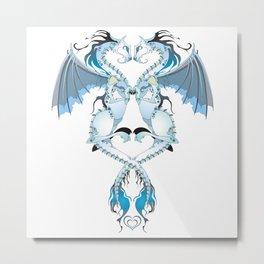 Azure Love Dragons Metal Print