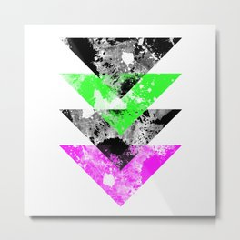 Descent - Geometric Abstract In Black, Green And Pink Metal Print