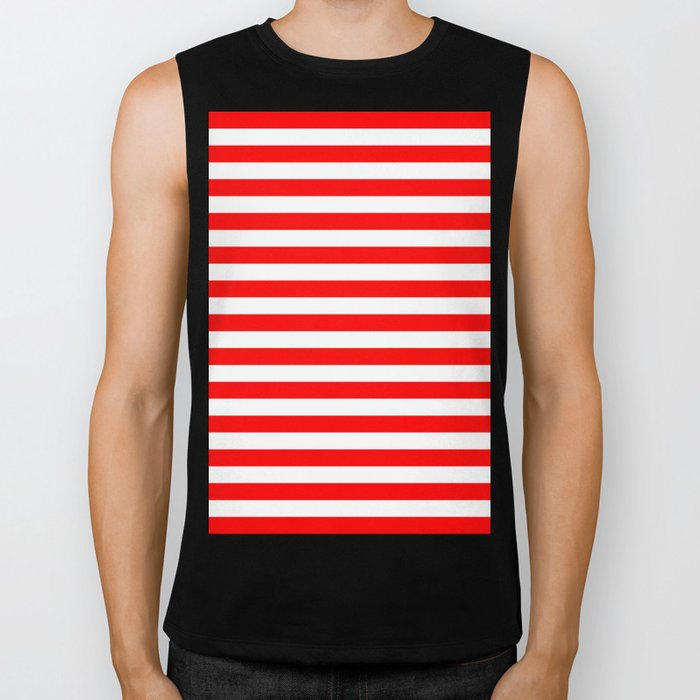 Horizontal Stripes (Red/White) Biker Tank