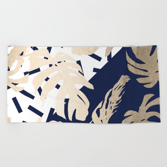 Simply Tropical Nautical Navy Memphis Palm Leaves Beach Towel