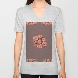 Country Roses Taupe Unisex V-Neck