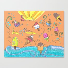 Summer Ice Creams and Popsicles Canvas Print