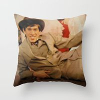 caleb troy Throw Pillows featuring Troy by Eddie Frietas