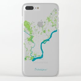 Philadelphia Map - Green Spaces Philly Parks Clear iPhone Case