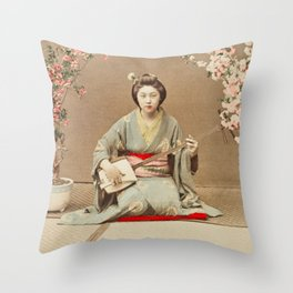 Ogawa Kazumasa - Geisha Playing Samisen Throw Pillow
