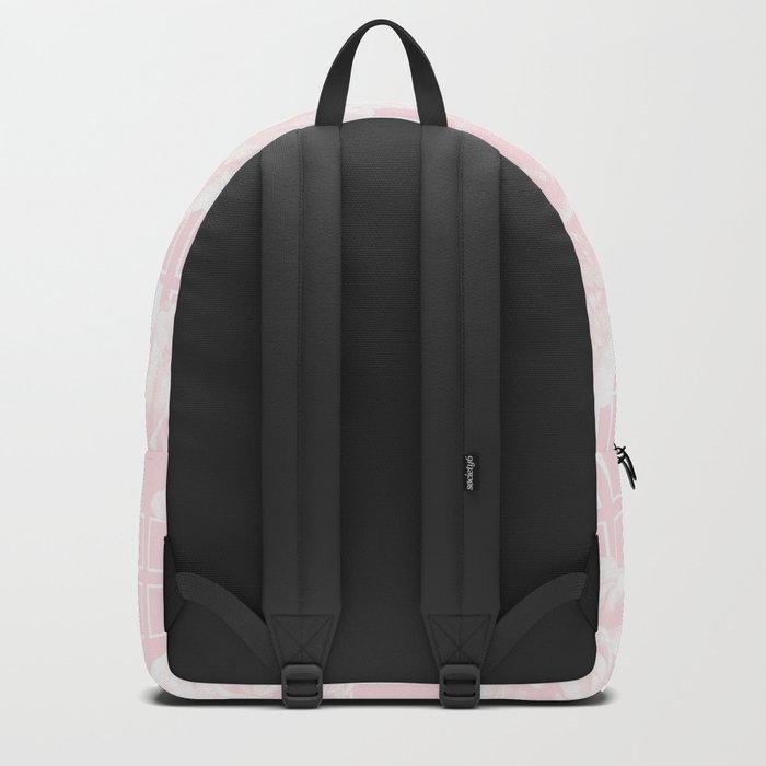 Rose Garden Pink Flamingo on White Mid-Century Lattice Backpack
