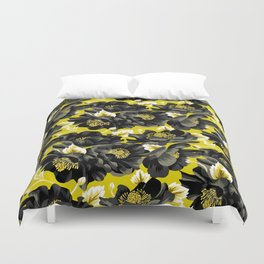 Mount Cook Lily - Yellow/Black Duvet Cover