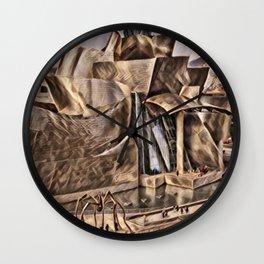 Spain Bilbao Guggenheim Museum Artistic Illustration Dry Leaf Style Wall Clock