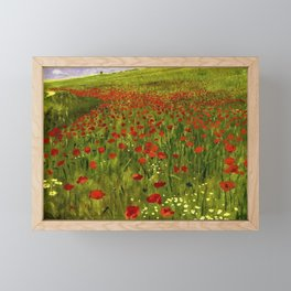 Red Poppy Fields Landscape Painting by Pal Szinyei-Merse Framed Mini Art Print