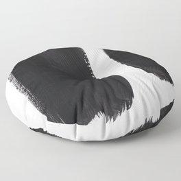 Black And White Minimalist Mid Century Abstract Ink Art Minimal Brush Strokes Black Color Block Floor Pillow