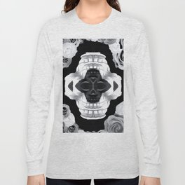 funny skull portrait with roses in black and white Long Sleeve T-shirt