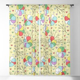 Birthday Party Colorful Flowers and Hearts on Yellow Sheer Curtain