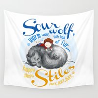stiles Wall Tapestries featuring Sterek Sleepy Wolf & Stiles I by siny