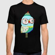 Bobble Hat Owl. Mens Fitted Tee MEDIUM Black