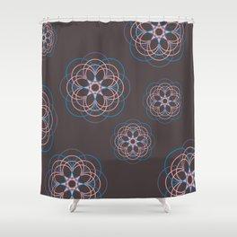 Boho Style Line Mandala Flowers, Pink Blue Purple Hippi Style Shower Curtain