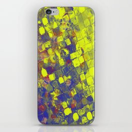 Take The First Step - Abstract, blue and yellow pattern iPhone Skin