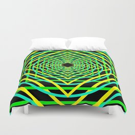 Diamonds in the Rounds Blacklight Neons Yellow Greens Duvet Cover