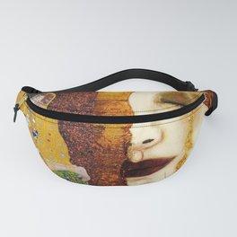 Gustav Klimt: The Kiss & Freya's Tears golden-red flower anemone college portrait painting Fanny Pack