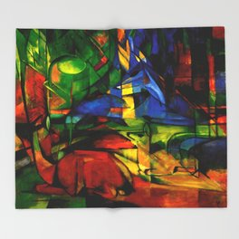 Deers in Wood by Franz Marc Throw Blanket
