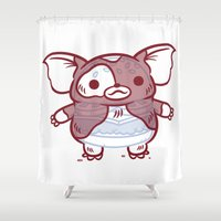 gizmo Shower Curtains featuring Cheeseburger Gizmo by Philip Tseng